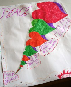 In response to the attack on Kenya in Nairobi recently, third year Daraja students created illustrations for peace during their WISH lesson. Mesret's illustration shows that peace starts within oneself and only then can it be propelled outward.